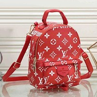 LV Louis Vuitton women's beautiful and fashionable backpack presbyopia bag F/A red