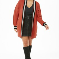 Plus Size Ribbed Open-Front Varsity Cardigan