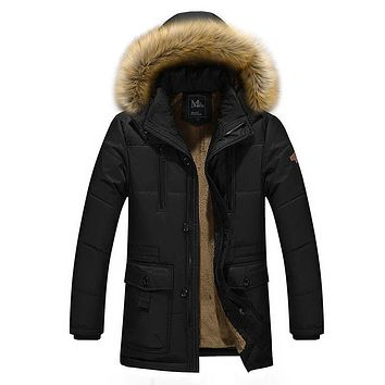 winter jacket men thicken heavy weight fashion mens long jackets hooded coat men's outerwear trench coat M-5XL Free shipping