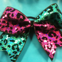 """3 inch, 3 """" cheer bow, all star cheerleading, bling, cheetah print with pink and turquoise sequins"""