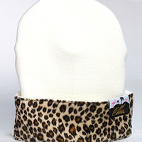 1st Class Leopard Front Patch Beanie In White