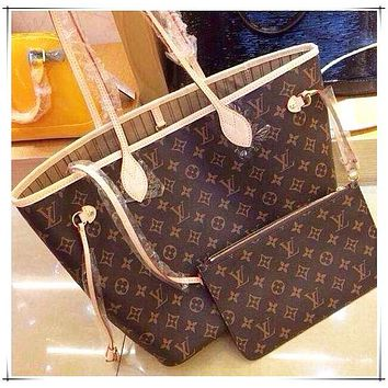 LV Tide brand female classic old flower checkerboard shopping bag two-piece