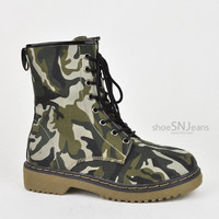 Women's Military Army Combat Riding Ankle Lace Up Bootie Boots Shoes Forever