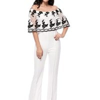 Casual Off Shoulder Decorative Lace Hollow Out Straight Jumpsuit
