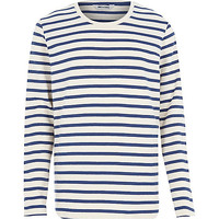 River Island MensBlue Only & Sons stripe long sleeve t-shirt