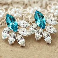 Aqua Blue and white drop stud earring bridal jewelry,bridesmaids earrings, gift for woman-Silver Swarovski classic wedding jewelry