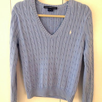 V Neck Polo Ralph Lauren Cable Knit Sweater (Polo by Ralph Lauren)
