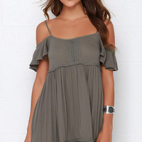 Others Follow Sun-Kissed Olive Green Lace Dress