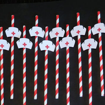 nurse cap party straws, nursing school graduation decorations, 10 pieces, nurses caps