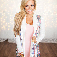 All In Sequins Elbow Patch Cardigan Ivory - Modern Vintage Boutique