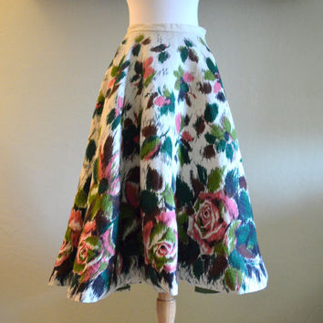 Vintage Circle Skirt by Lily Montez California, Magnificent Hand Detailed Swing Skirt with Floral Design, With Tags, XS, 1960s