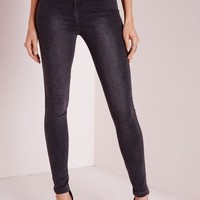 Missguided - Petite Vice High Waisted Skinny Jeans Grey