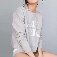 Letter Print Round Neck Top Pullover Sweatshirt Sweater