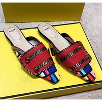 FENDI Popular Women Pointed Half Slipper Sandals Mules Shoes Red