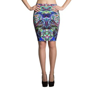 Poi Artist Fitted Pencil Skirt