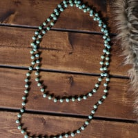 Rising Sun Beaded Drop Necklace And Earring Set (Mint)