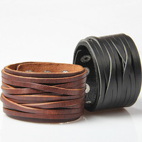 Fringed Buttoned Lock Leather Bracelet