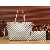 Louis Vuitton LV Women Shopping Leather Tote Handbag Shoulder Bag Clutch Bag Wristlet Cosmetic Bag Two Piece Set