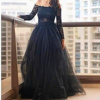 Long Sleeve A-Line Tulle Prom Dresses