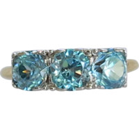 London Blue Topaz 3 Stone 14K Gold Ring 1.68 Carats December Birthstone
