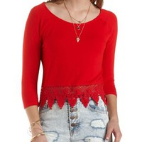 Crochet-Trim Swing Crop Top by Charlotte Russe