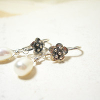 Pearl earrings soft white natural sterling silver june birthday bridal fashion pamelasjewelry