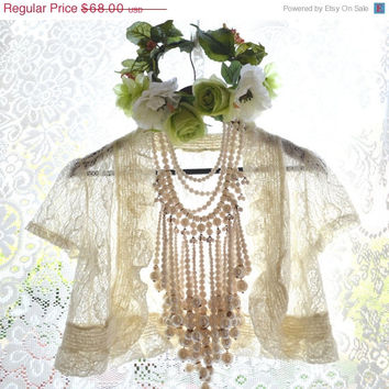 SALE Lace Shrug, Creme Brulee Shabby cottage chic lace, Bridal Bohemian cowgirl chic French country chic wrap, For her, True rebel clothing