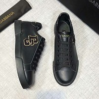 D&G Dolce & Gabbana Spring and Autumn Casual Men's Shoes Fashion Joker Sneakers F-XIMIN-WMNX Black