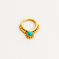 Gold Plated Septum For Pierced Nose - Nose jewelry - Septum Jewelry - Indian Nose Ring - Ethnic Septum - Septum Piercing (Code: G22)