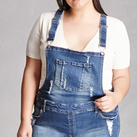 Plus Size Denim Overall Shorts