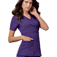 Buy Cherokee Luxe Women Rayon Mock Wrap Scrub Top for $21.95