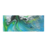 "Carol Schiff ""Turquoise And Green Abstract"" Blue Teal Bed Runner"