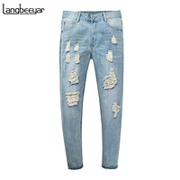 Men Jeans Ankle-Length Pants Slim Fit Denim Trousers Trend Casual Ripped Jeans Men Clothing