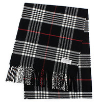 Cashmere Feel Traditional Plaid Fringe Scarf: Black & Red