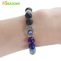 "8SEASONS Chakra Lava Beaded Healing Bracelet Multicolor Hand Evil Eye Elastic 24cm(9 4/8"") long, 1 Piece"