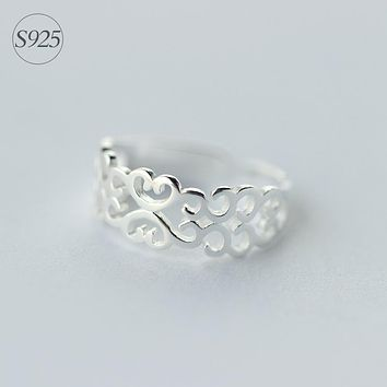 Retro REAL.Solid 925 Sterling Silver Hollow Spiral Filigree Swirl Band Long Ring Toe Ring Finger Ring Size3.75 -Size 6 GTLJ912