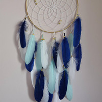 Navy Aqua White Dream Catcher, Nursery Wall Hanging Large  Dream Catcher, Bedroom Home Gold Wall Decor, Bohemian Decor