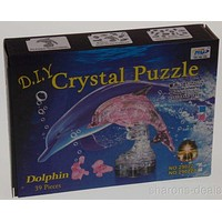 """DIY 3D Crystal Dolphin Figurine Puzzles Lot 2 Model Pink Clear Stand 4"""" Jigsaw"""