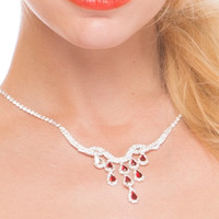 Red Ruby Tone Multi-Tear Drops Necklace & Earrings Set  - Red