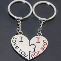 Fashion I LOVE YOU Heart Kissing Keychain Keyring Key Chain Ring Keyfob Lovers Couples Romantic Gift = 1652443972