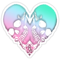 pink and teal skull heart