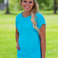Sweeter Than Any Peach Piko Top - Blueberry