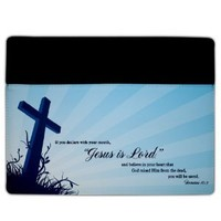 iPad 2 & 3 Cover - Christian Theme - Romans 10:9 - Protective Leather and Suede Case