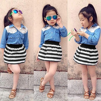 Kids Children Girl Fashion Two Piece Lace Patchwork Jeans Shirt and Elastic Waist Stripe Skirt Set = 1655768644