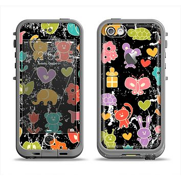The Furry Fun-Colored Critters Pattern Apple iPhone 5c LifeProof Fre Case Skin Set