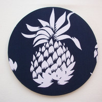 Mouse Pad mousepad / Mat - Rectangle or round - white pineapple on navy