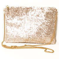 Champagne Sequin Clutch-Sequin Clutch with Chain Strap-Personalized Bridesmaid Clutch-Clutch Purse Gold Chain-Customized Bridesmaid Gift