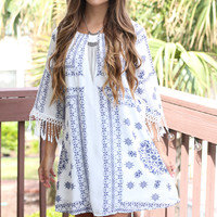 Sunset Carnaval White Mosaic Print Tunic Dress