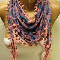 New - Gift Scarf -  Flowered Pompom Scarf - Shawl