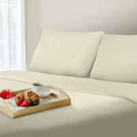 Lavish Home 600 Thread Count Cotton Sateen Sheet Set - Queen - Ivory